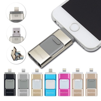 3 in 1 USB Flash Drive 128GB USB 3.0 Pen Drive Memory Stick Storage Device U Disk For iphone 5/6/6s/7/7s Android Mobile Phone +Free 2 in 1 phone fan(rose gold) - intl - 4