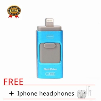 32GB Iphone USB Flash Drive For IPhone Series/Android Series AndIOS /Computer 3 in1 OTG Pendrive+FREE Iphone Headset_Blue - intl