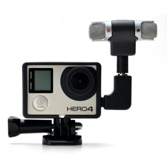 3.5mm External Mini Stereo Microphone Mic + Adapter + StandardFrame Accessories for Gopro Hero 4 3+ 3 Action Camera - intl