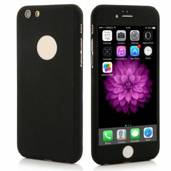 360 Degree Full Body Armor Case With Free Tempered Glass for Apple iPhone 6 (Black)