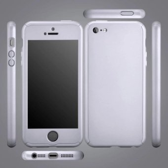 360 Degree Full Body Protect Hard Slim Case Cover with TemperedGlass for iPhone 5/5S/5C/SE Silver - intl - 3