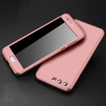 360 Degree Full Body Protective Phone Case Frosted Matte CoverShell with Tempered Glass for Huawei P10