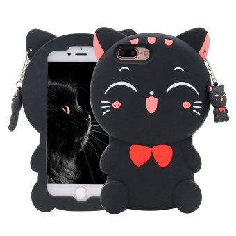 3D Lucky Fortune black Cat with Cute Bow Tie Silicone Rubber Phone Case Cover for Apple iPhone 5/5S/SE - intl Price Philippines