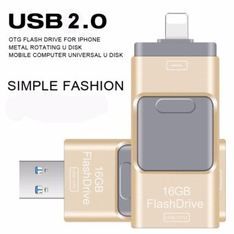 3IN1 USB Flash Drive 16GB Pendrive High Speed Pen Drive for Iphone5/5s/5c/6/6 Plus/7/ipad USB Stick Flash Drive OTG USB 2.0 16GB(GOLD)