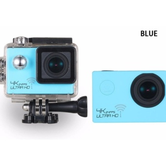 4K Hd 1080P 16Mp Helmet Sport Action Waterproof Camera Dv Cam ForGopro (Blue) with Free Samsung 2A 1M Micro Usb Charger ChargingSync Data Cable For Smart Phone