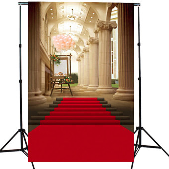 5x7ft European Palace Red Carpet Wedding Photography Background Studio Backdrop - 2