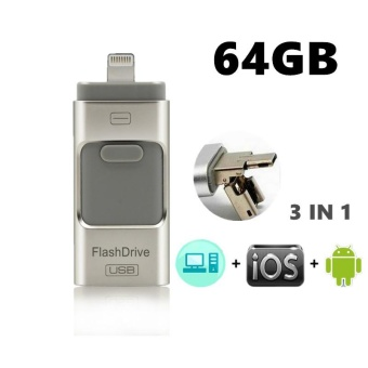 64GB 2.0 USB i-Flash Drive U Disk Memory Stick Storage Adapter USB Flash Drive For iPhone OTG Phone Android Computers 3 IN 1