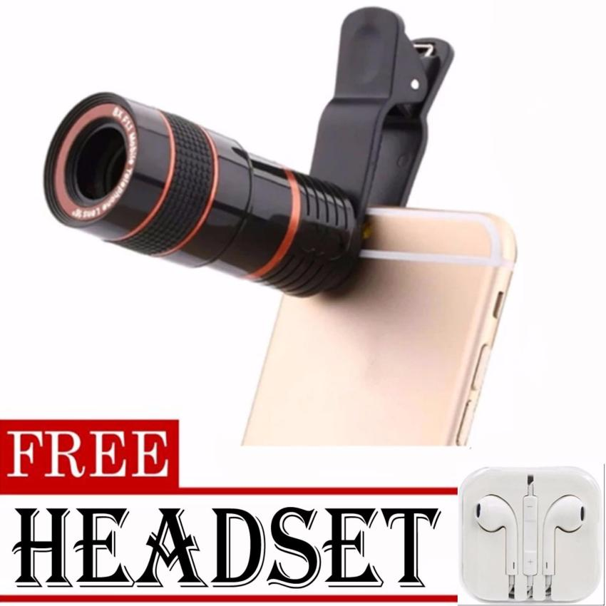 8x Zoom Universal Telescope Clip Lens for Smartphone (Black)withFREE Headset (White)