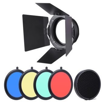 96mm Universal Mount Metal Bardoor Barn Door Barndoor withHoneycomb Grid 4pcs Color Gel Filters for Neewer Godox 180W 250W300W Andoer MD-250 MD-300 Studio Strobe Flash Light Monolight ^ -intl - 5