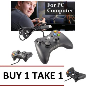 A-K Wired Usb Game Controller Gamepad Joypad Resemble Xbox 360 ForPc Computer #11B (Black) Buy 1 Take 1