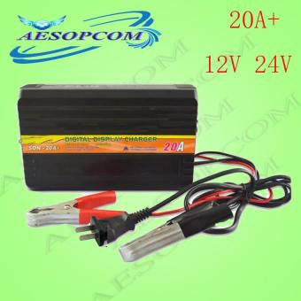AESOPCOM 20A 24V and 12V 20A Digital Car Battery Charger