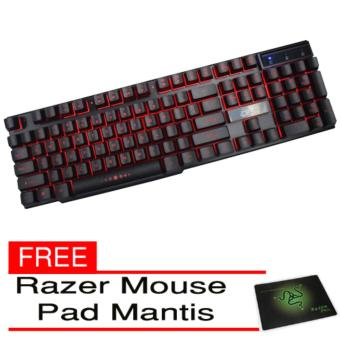 AESOPCOM Kinbas VP900 Gaming Keyboard Red Led black with Razer Mouse Pad Mantis
