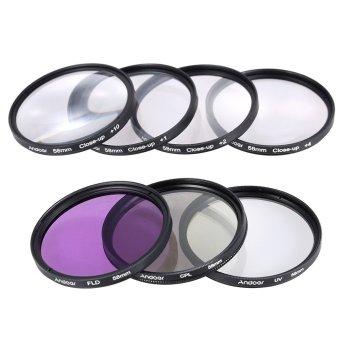 Andoer 58mm UV + CPL + FLD + Close-up(+1+2+4+10) Camera Lens FilterKit - INTL - 3