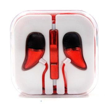 Android Essentials Metallic Horn Powerful Bass In-Ear-Headphoneswith Volume Control (Red) - 2