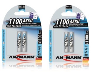Ansmann NiMH AAA 1100 mAh x2 Rechargeable Battery Bundle of 2