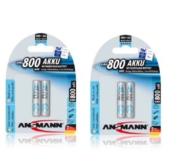 Ansmann NiMH AAA 800 mAh x 2 Rechargeable Battery Bundle of 2