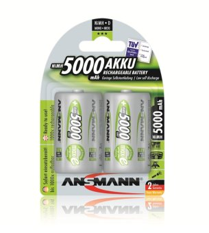 Ansmann NiMH-LSD D 5000mAh x2 Blister Pack Rechargeable Battery