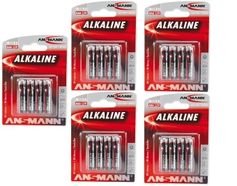 Ansmann Red Alkaline Battery AAA 1.5V x4 Blister Pack Bundle of 5