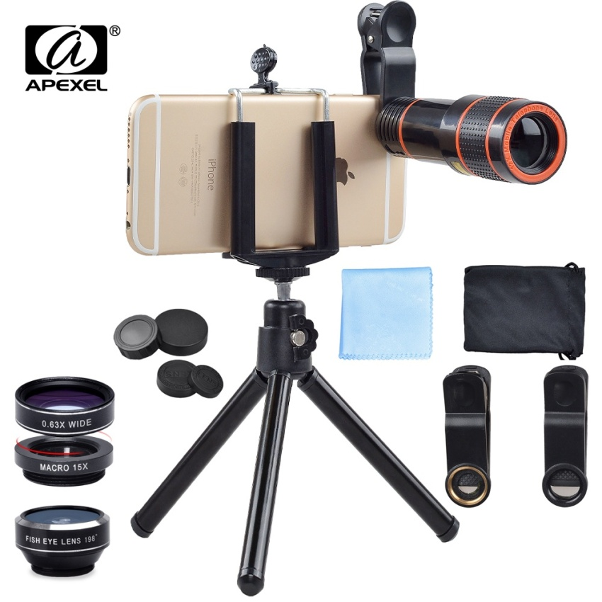Apexel 5 in 1 12X Zoom Telephoto Telescope Optical Lens&Fisheye Wide Angle Macro Mobile Phone Lenses Universal For iPhone Sumgung - intl - 2