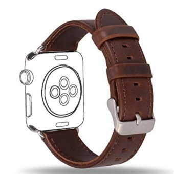 Apple Watch Band Series 1 Series 2,Premium Vintage Genuine LeatherWrist Strap Replacment with Classic Stainless Steel BuckleClasp,Crazy Horse Style for iwatch,42mm - intl - 2