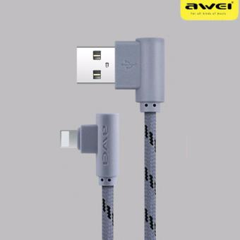 Awei CL-91 L-Jack 1M Lightning Connector Sync and Charge Data Cable for iPhone Devices (Gray)