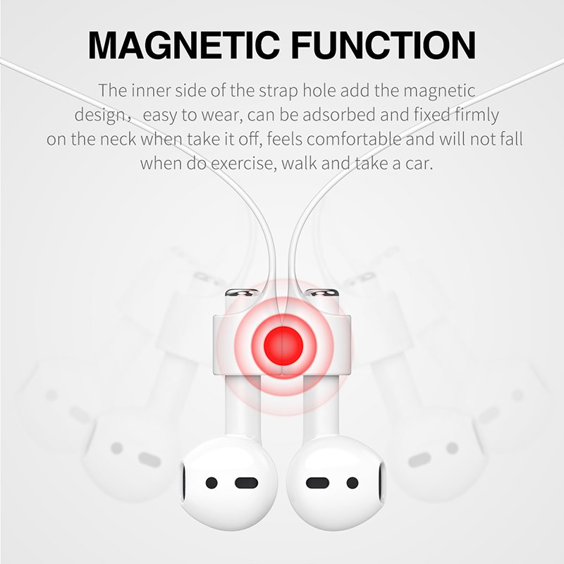 Baseus Magnetic Strap Bluetooth Silicone Anti Lost Strap Loop String Headset for Apple .