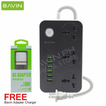 Bavin 6 USB Charging HUB with 3 Power Socket with FREE Adapter Charger