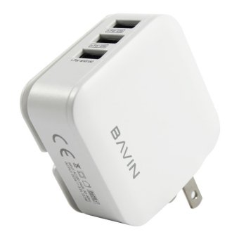 Bavin C-AC221 3-Port USB Universal Fast Charger with iPhone DataCable (White) - 2