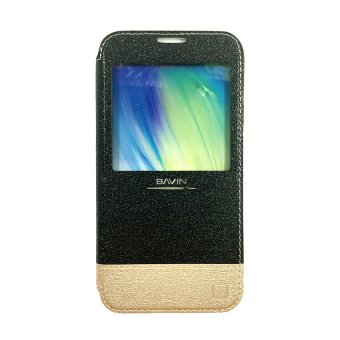Bavin Leather Case with Front Preview for Samsung Galaxy S5 (Black)