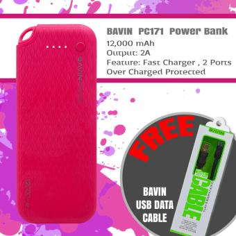 BAVIN PC171 12000mAh Power Bank (Pink) + Free USB Cable