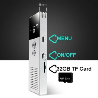 BENJIE M23 8GB Digital Voice Recorder 20m Professional AudioRecorder Portable One Key Recorder (Silver) - intl - 3