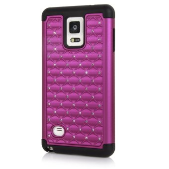 Bling Crystal Rhinestone Silicone PC Hybrid Protective Case Cover for Samsung Galaxy Note 4 N9100 - Purple + Black