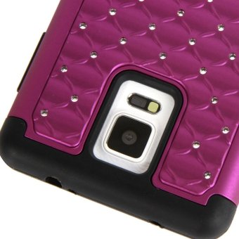 Bling Crystal Rhinestone Silicone PC Hybrid Protective Case Cover for Samsung Galaxy Note 4 N9100 - Purple + Black - picture 2