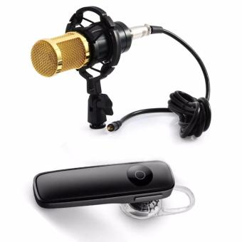 BM-800 Condenser Sound Recording Microphone with Shock Mount for Radio Braodcasting (Black) with M165 Bluetooth V4.0 Stereo Smartphone Headset for iphone Android (Black)