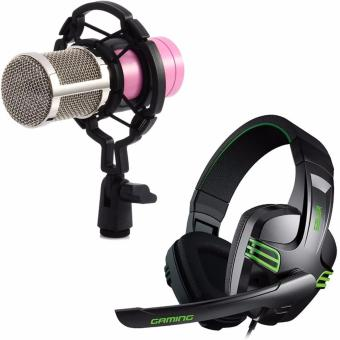 BM-800 Condenser Sound Recording Microphone with Shock Mount for Radio Braodcasting (Pink) with Salar KX-101 Over-the-Ear Gaming Headset (Black)