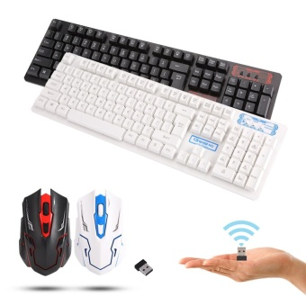 [Buy 1 Get 1 Free Gift] 104 Key USB Wireless Gaming Keyboard and Mouse Combo Adjustable DPI (White) - intl