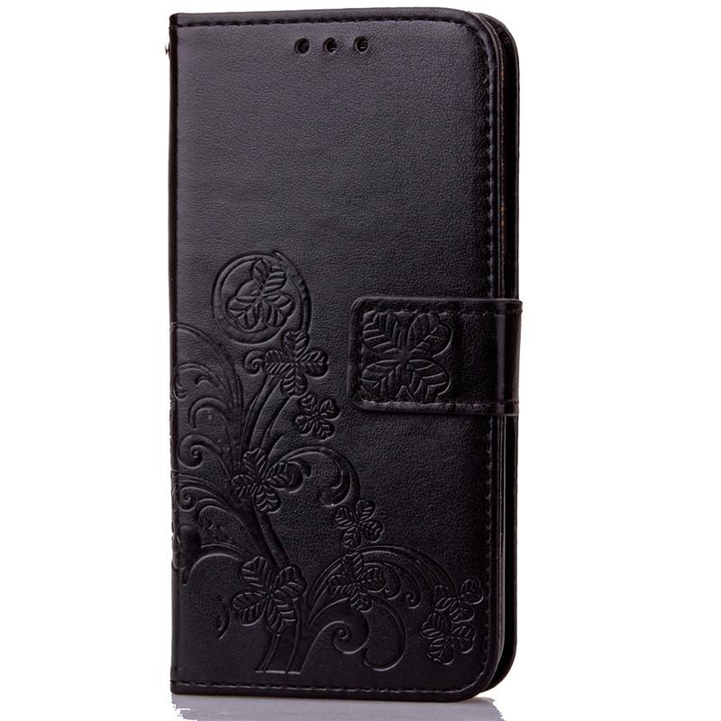 BYT Flower Debossed Leather Flip Cover Case for Samsung Galaxy J72016 Black .