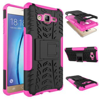BYT Rugged Dazzle Case for Samsung Galaxy On 7 2016 with Kickstand(Rose)
