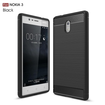 Case for Nokia 3 Carbon Fiber Brushed Texture Soft TPU Back Case (Black) - intl