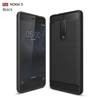 Case for Nokia 5 Carbon Fiber Brushed Texture Soft TPU Back Case (Black) - intl