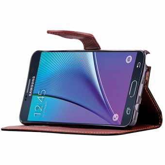 Case for Samsung Galaxy Note 5 Leather Flip Stand Case Cover Wallet - Black - 5