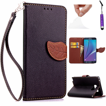 Case for Samsung Galaxy Note 5 Leather Flip Stand Case Cover Wallet - Black