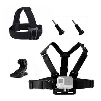 Chest Head Belt Mount For Gopro Hero 5 4 3 2 accessories SetSJCAMSJ4000 Action Camera Go pro J mount for Head Harness Strap -intl