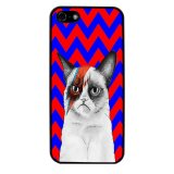 Chevron Grumpy Cat Pattern Phone Case for iPhone 4/4S (Black) - thumbnail 1
