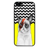Chevron Grumpy Cat Pattern Phone Case for iPhone 4/4S (Black) - thumbnail 1