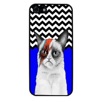 Chevron Grumpy Cat Pattern Phone Case for iPhone 4/4S (Black)