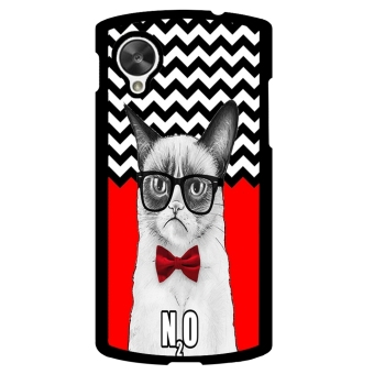 Chevron Grumpy Cat Pattern Phone Case for LG Nexus 5 (Black)