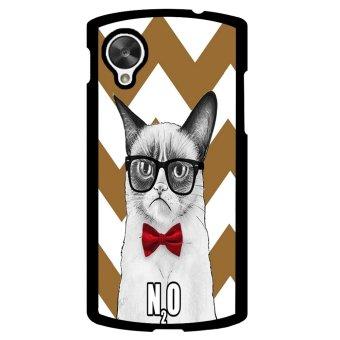 Chevron Grumpy Cat Pattern Phone Case for LG Nexus 5 (Brown/White)