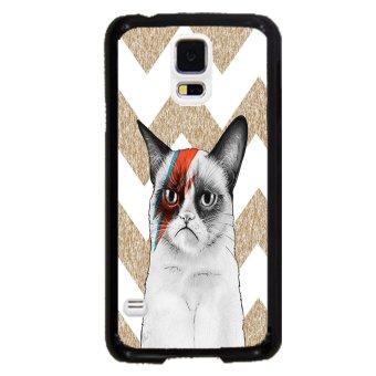 Chevron Grumpy Cat Pattern Phone Case For Samsung Galaxy S5 (Black)