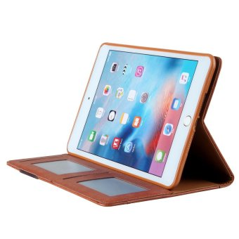 CMAI2 Leather Flip Photo/Card Slots Tablet Cover Case for iPad Air2 - Brown - intl - 4